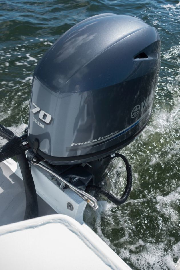 The Yammie 70hp is quiet, fuel efficient and a good match for this hull.