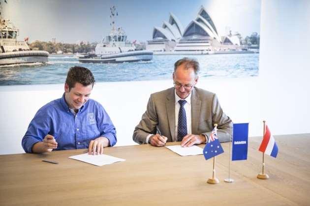 Sealing the deal: Brenton Fischer, director Sydney City Marine, and Jaap de Lange, director Damen Services.
