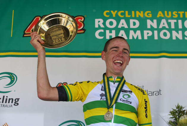 Chris Hamilton wears the green and gold jersey. Photo credit: Cycling Australia