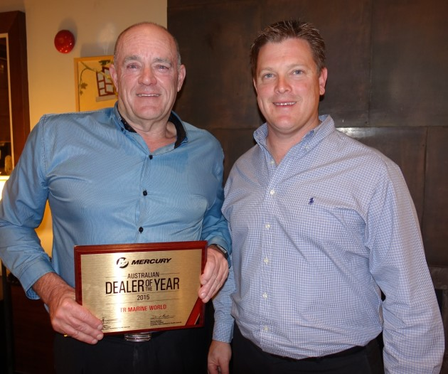 Ian Tricker, TR Marine World (left), receives the award for Mercury Marine's 2015 Dealer of the Year for Australia from David Meehan, Mercury Marine director of sales Australia, New Zealand , Pacific.