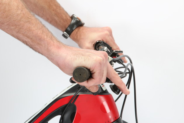 Angle the controls down so that your wrist remains straight when you reach out for the brake lever.