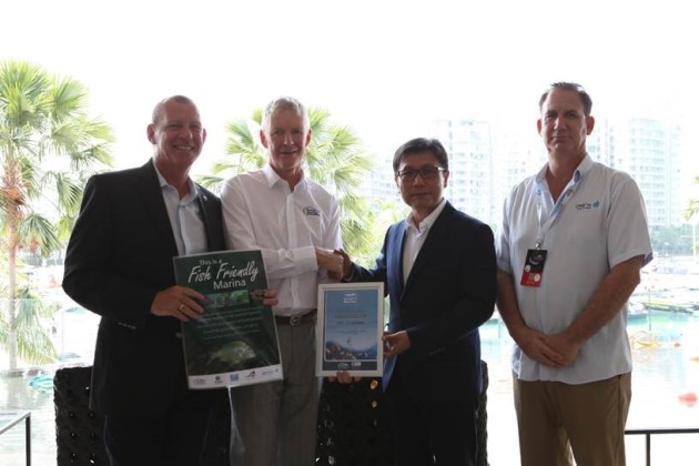 Singapore's fish friends: (l-r) Rudy Puystjens CMM, marina manager of ONE°15 Marina Sentosa Cove, Singapore, Colin Bransgrove, executive officer of Marina Industries Association, Jack Long, group general manager of SUTL Group, and Brian Werner, general manager of ONE°15 Marina Sentosa Cove.