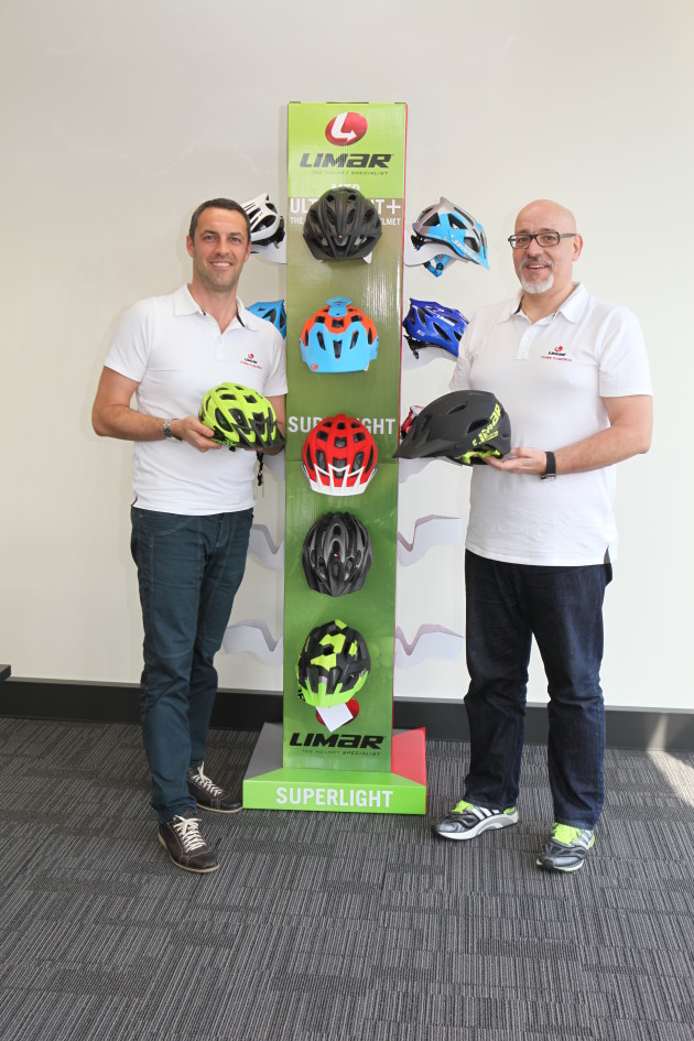 Giovanni Caporali (left) and Eric Cendral pictured here with some of their MTB helmets clearly think the Australian market is important enough to justify their long trip from Italy.