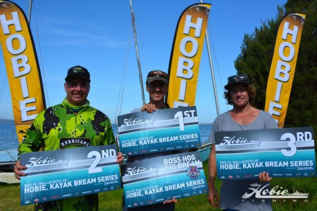 The podium from Round 3 of the Hobie Kayak Bream Series. Carl Dubois (1st), Tony Pettie (2nd) and Josh Klimas (3rd)