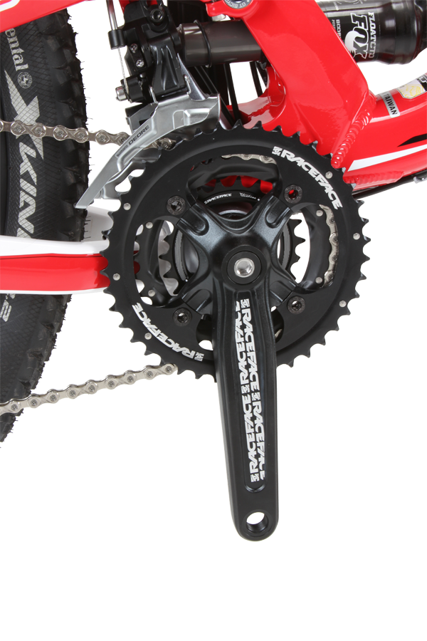 The triple crank will let you climb any mountain and easily converts to a double or single ring setup if you prefer.