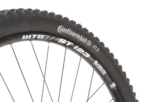 The WTB rims are wide enough to support the tyres at low pressures and they convert to tubeless easily.