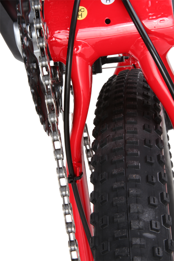 The bridgeless chainstays are heavily shaped to maximise tyre and chainring clearance.