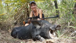 Casey cracks her first 100kg boar