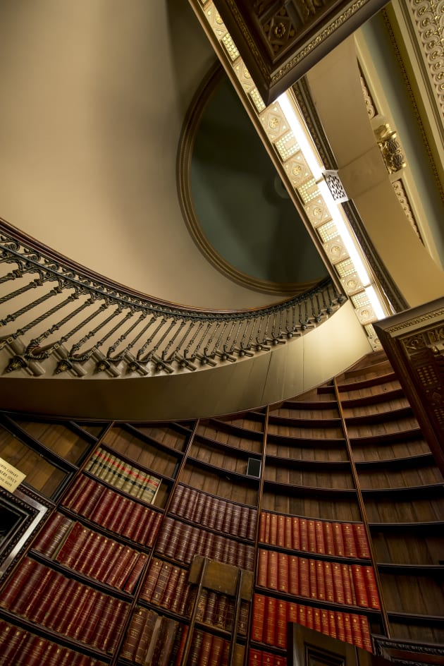 The library stair in Parliament House. You can only see the stairs if you do a tour of the building. Nikon D800, 14-22mm f/2.8 lens, 1/60s @f5, ISO 1000.