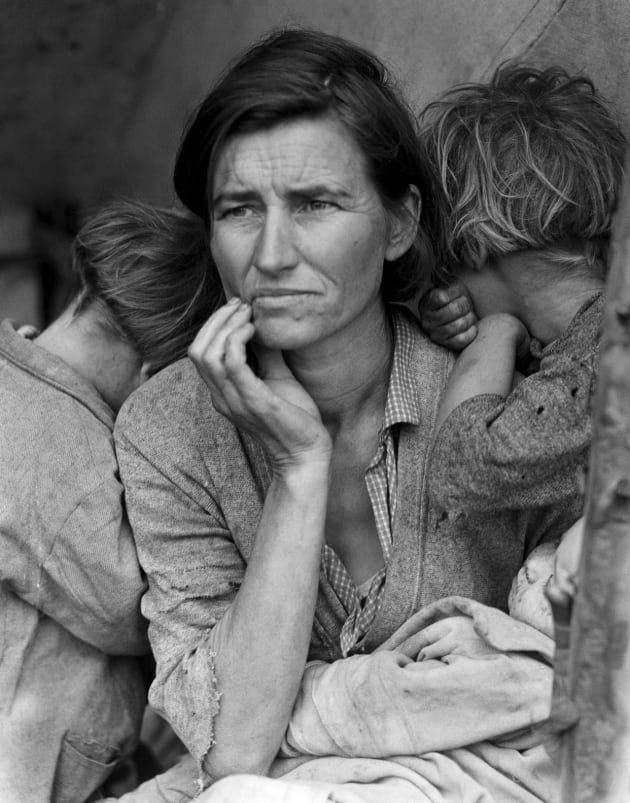 Dorothea Lange's migrant mother remains one of the most iconic images ever taken of the US depression in the 1930s.