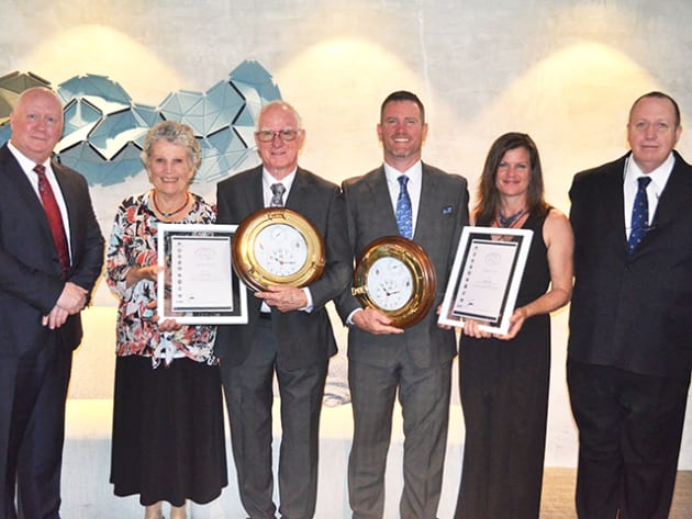 The 2016 Australian Search and Rescue Award recipients - John and Innes Larkin - pictured here with their wives Jenny and Tracey Larkin, AMSA's CEO Mick Kinley (left) and QPS Senior Sergeant Jim Whitehead (right).