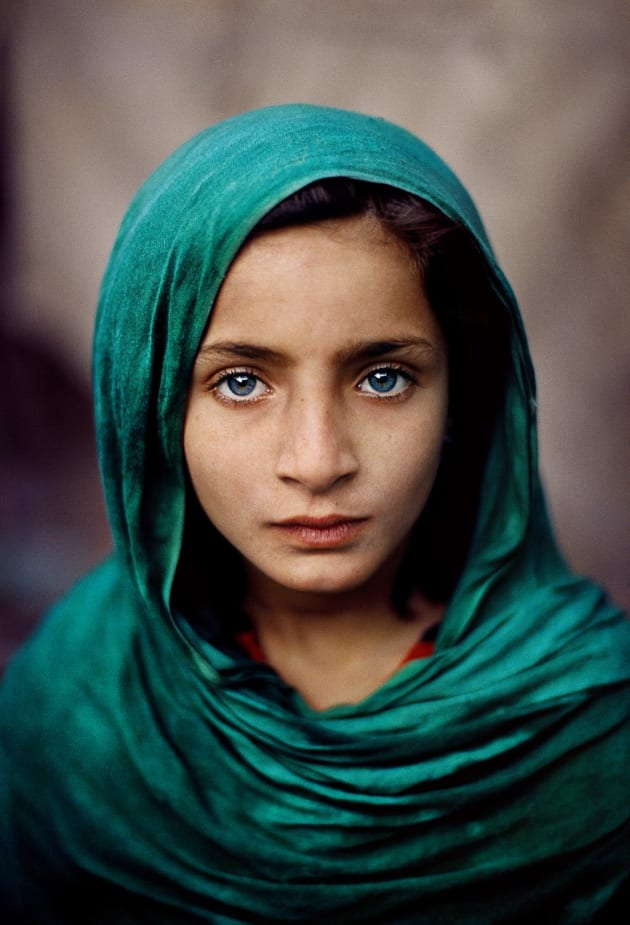 Peshawar, Pakistan, 2002. An Afghan refugee girl in a green headscarf.