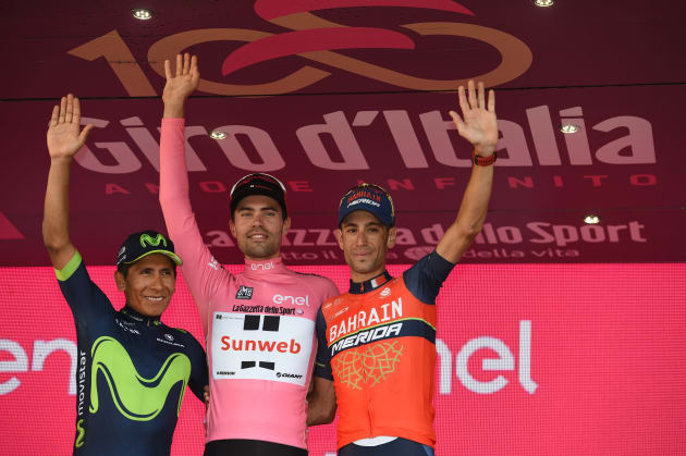 Quintana, Dumoulin & Nibali on the podium following the final stage of the 2017 Giro d'Italia. Image: Sirotti.