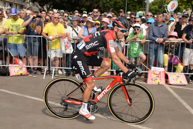 Richie Porte at the start of Stage 7 of the 2017 in Troyes, just 2 days before crashing out of the race. Image: Sirotti.