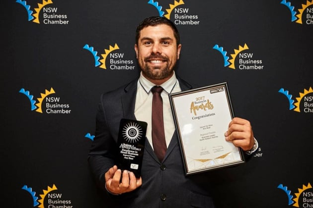 Daniel Da Silva of Any Boat with the Small Business Excellence award from NSW Business Chamber.
