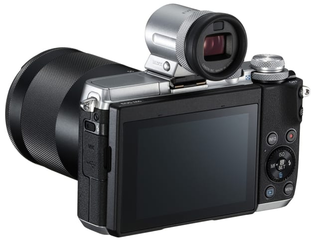 Canon EOS M6 with optional EVF-DC2 electronic viewfinder.
