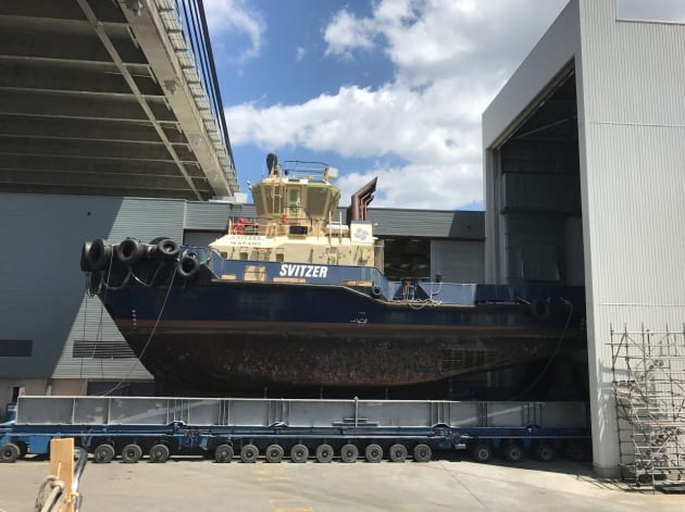 Before... the Svitzer Warang goes into the workshop at Sydney City Marine.