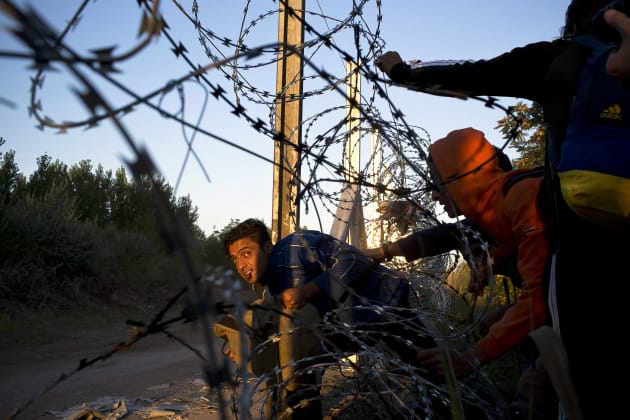Refugees make a break into Hungary through the border fence being constructed between Hungary and Serbia. Horgoš, North Banat, Serbia, 9 September, 2015. © David Maurice Smith/Oculi.