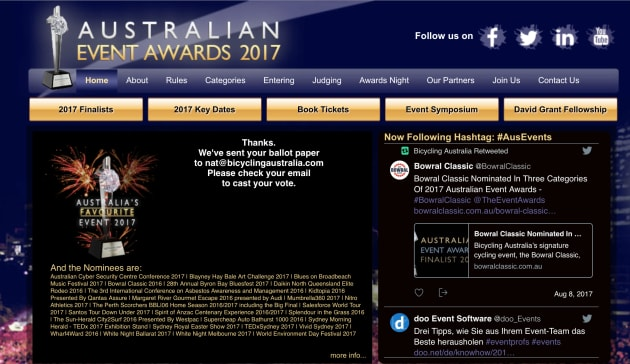 Visit www.eventawards.com.au and Vote1 for the Bowral Classic!