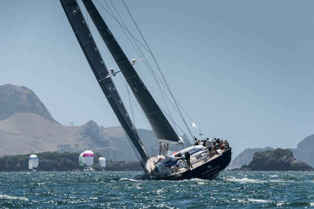 Superyacht Farfalla competing in the NZ Millennium Cup.