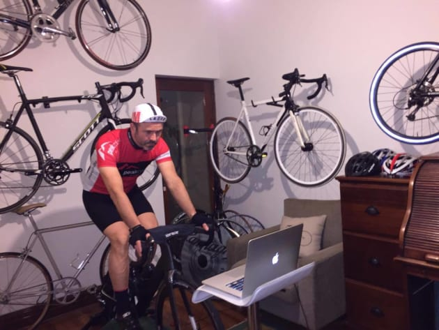Dream pain Cave - Some of Nick's 11 bikes can be seen on the wall of his office / training room.