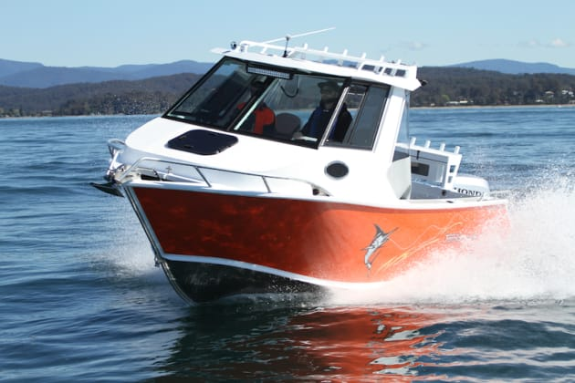 A solid plate boat like the Tomahawk provides a solid ride in most conditions.