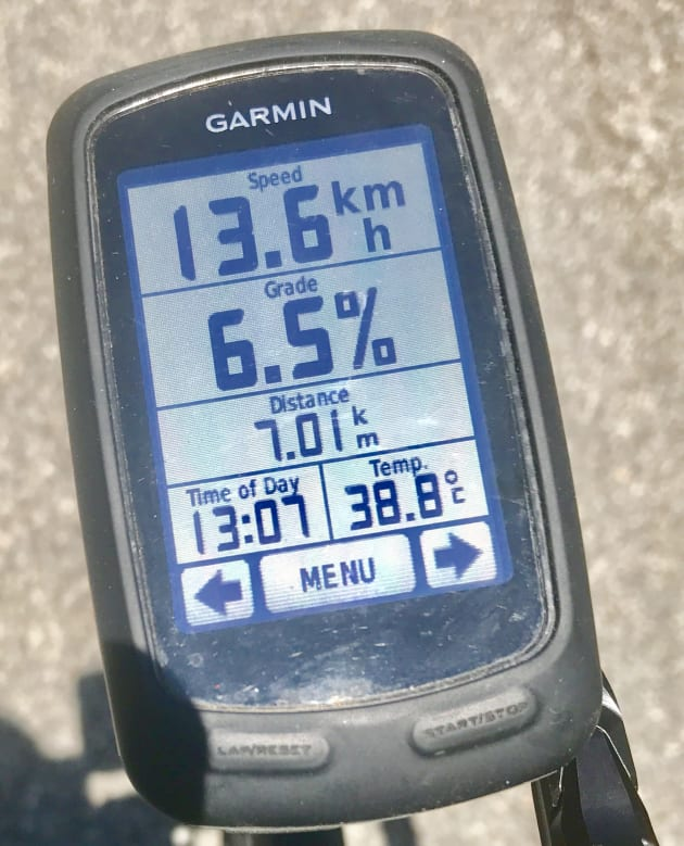 38 degrees on the Garmin and climbing 6.5% on an old school cluster ... not fun.