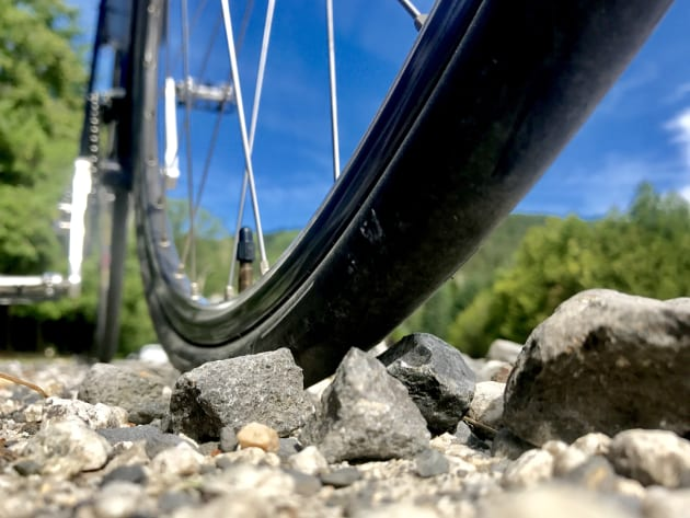 Riding the tyres over a mix of surfaces - from smooth black top bitumen to cobbles, to coarse gravel paths - the tyres have performed faultlessly. Image: Nat Bromhead.