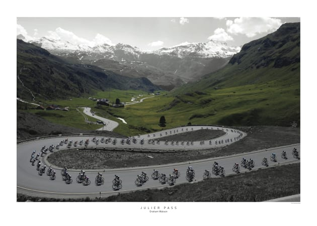 Another fine alpine image from the master of cycling photography: Image: Graham Watson.