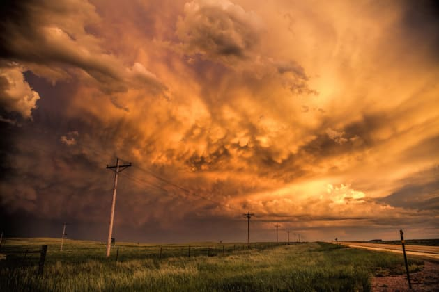 Montana was our destination...and although we were driving from Texas we had no plans for any storm chasing. However a small storm formed just outside of Gillette, Wyoming, where it put on a nice lightning show. As it started to die out the sun was setting and lit up the sky with some nice mammatus clouds and somewhat messy structure. Canon EOS 5DSR, 24-70mm lens @ 24mm, 1/80sec @ f6.3, ISO 320.