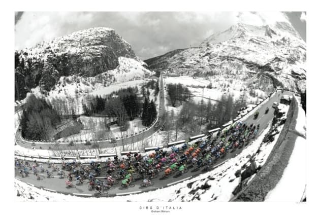 One of Watson's legendary images from a snow-covered stage of the Giro d'Italia. Image: Graham Watson