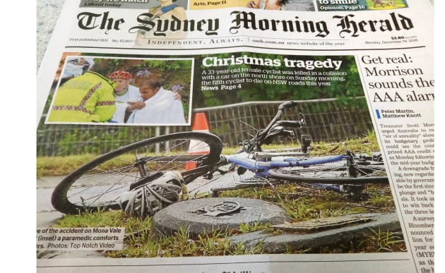 The front page Sydney Morning Herald report of 33yo cyclist Dr Ann Formaz-Preston's tragic death.