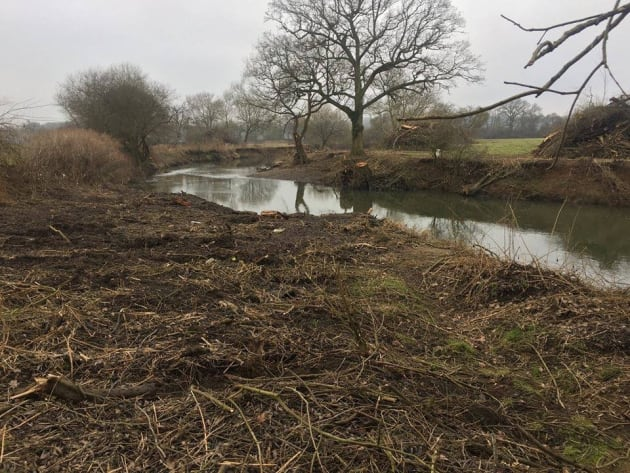 Recent habitat destruction on the River Mole near London.