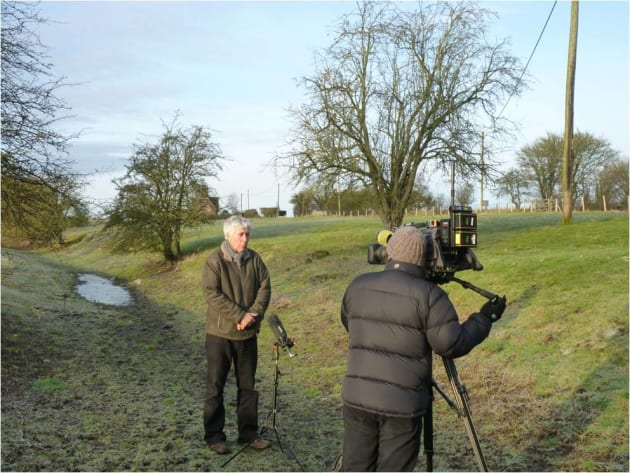 The River Kennet is one of England's more famous chalk streams, renowned for quality fishing, yet in the 2012 drought in ran dry in the middle of winter. Martin Salter is being interviewed by the BBC in a spot that should normally hold a metre of swift flowing water!