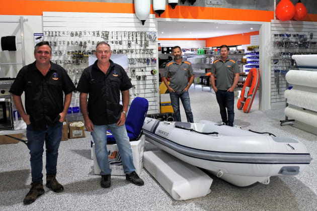 John Lance (second from right) and the team at the new Marine Trade Supplies & Chandlery superstore.