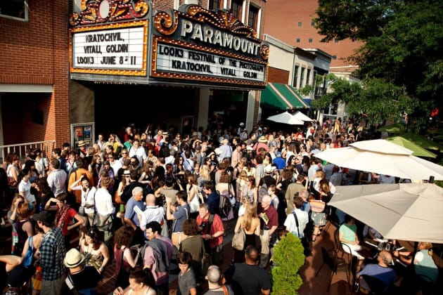 Attendees gather outside the historic Paramount Theater in downtown Charlottesville at LOOK3. © John Ramspott.