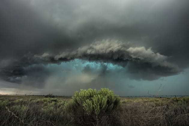 Some great shots came out of this day, and the colours of this image say it all. The green/blues were amazing, with a nice hail core on this storm as it moves out of Lamar and east towards Holly, Colorado. Canon EOS 5D Mark II, 16-35mm lens @ 17mm, 1/90 sec @ f6.7, ISO 800.