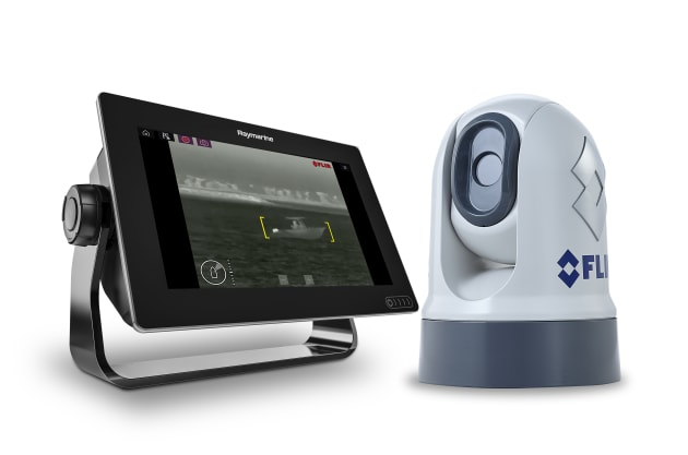 The new compact M200 thermal camera from FLIR paired with the latest Raymarine Axiom screen.