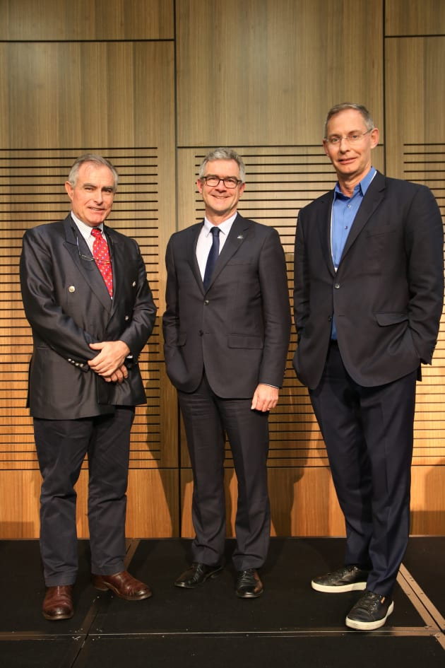 Andrew Chapman (left) with James Pearson from the Australian Chamber of Commerce and Industry and Howard Glenn from the BIA at the opening of the Marine17 conference.