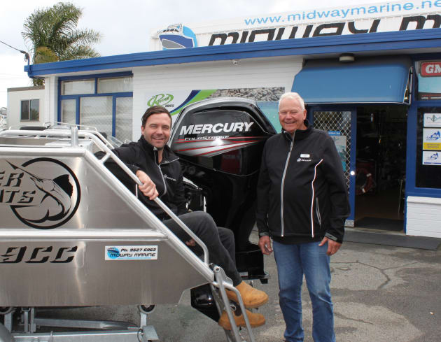 Committed to Mercury: Warwick and Jim Rann at Midway Marine.
