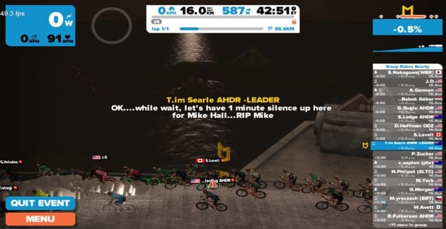 Zwifters held an online tribute ride for global cycling legend Mike Hall. Image: Zwift Oz.