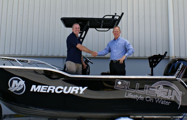 Stuart Hazell at Nitro Marine with Mercury's Mike Wilesmith.