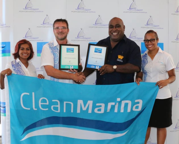 Presentation of the Clean Marina flag to Port Denarau Marina in Fiji: (l-r) Cynthia Rasch, Nigel Skeggs, Hon. Min Semi Koroilevesau and Vive Daunivesi.