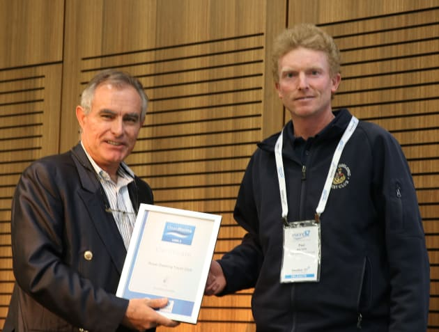 Andrew Chapman CMM (left) presents the Clean Marina certificate to Paul Walters, Royal Geelong Yacht Club marina manager.