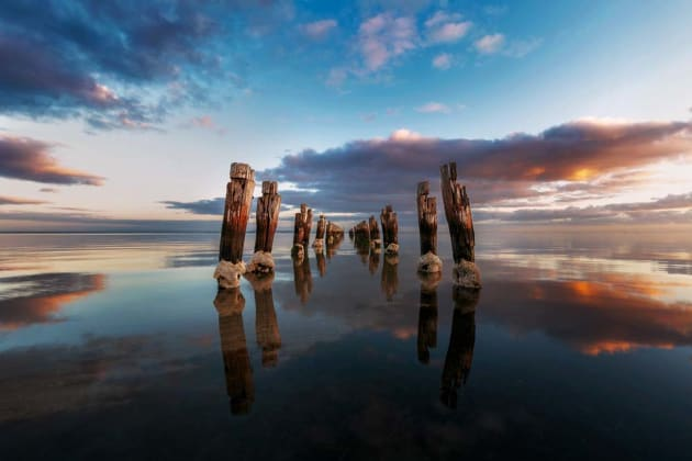 Clifton Springs, Victoria, is a great spot to photograph, but if you set up a tripod at eye height, you won't get the best angle and reflection. Get down low! Canon EOS 5D Mark III, 16-35mm f4L lens, 1/5s @ f/11, ISO 50, tripod.