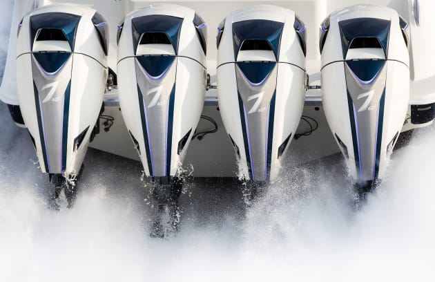 Power to burn: a quadruple installation of the Seven Marine 627hp outboard.