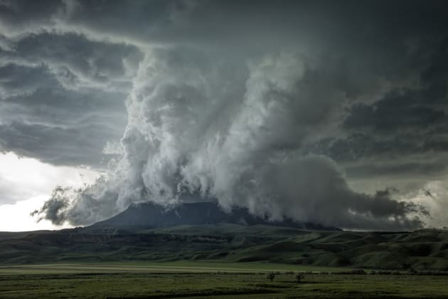 This was our first time chasing in the beautiful State of Montana and we ended up in a valley below these mountains in Square Butte. As the storm forms it drops down and begins to form a wall cloud, and as it moves east, the wall cloud engulfs a mountain, something that many chasers have not seen before. Canon 5DSR, 17-40mm lens @ 40mm, 1/90sec @f8 ISO 400.