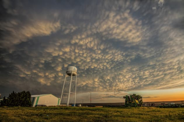 We headed towards Dumas, Texas, but on the way home storms were firing off too far away to intercept. However we caught the back of this storm heading into Stratford, Texas. These are some of the best mammatus clouds I have ever seen chasing in the U.S! Canon 5DSR, 16-35mm lens @ 16mm, 3.2 sec @ f10, ISO 125.