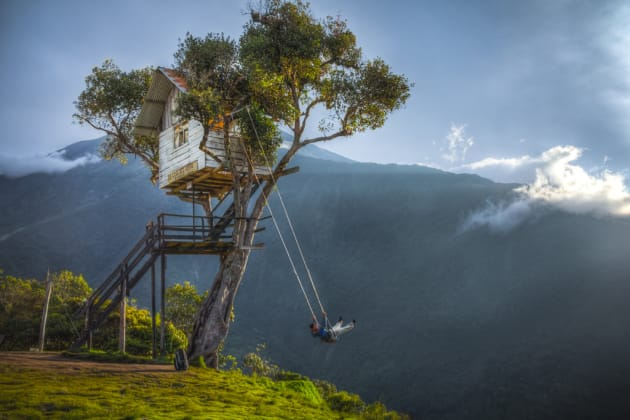 Swing at the edge of the earth by Chris-Staring