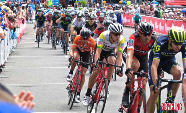 Race winner Richie Porte being protected by teammates during the stage finish into Victor Harbour. Image: Nat Bromhead